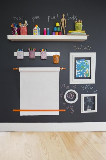 a chalkboard wall is ideal for developing creativity, make an art station right here