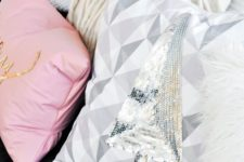 10 a geometric pillow with a silver sequin Christmas tree can be easily DIYed