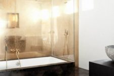 10 a shiny copper wall will make a monochromatic bathroom more interesting and glam