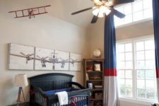 10 an aviation-themed nursery for a boy, navy, red and white for the color scheme