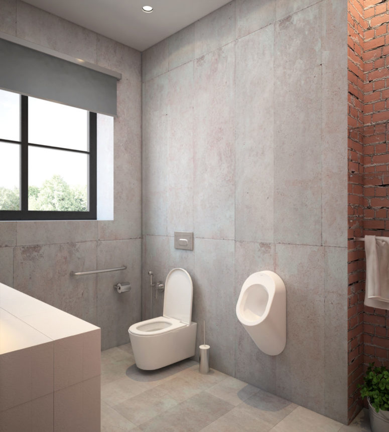 Raw concrete walls with brick ones can be seen in this part of the bathroom