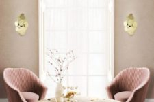 11 soft shades of pink and some shiny gold touches are ideal for a glam space with a girlish feel