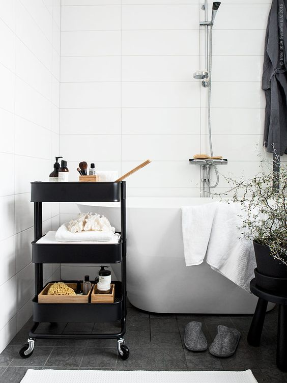 get an IKEA trolley and fill it with adorable accessories, expensive soap and sea shells to make your bathroom cooler