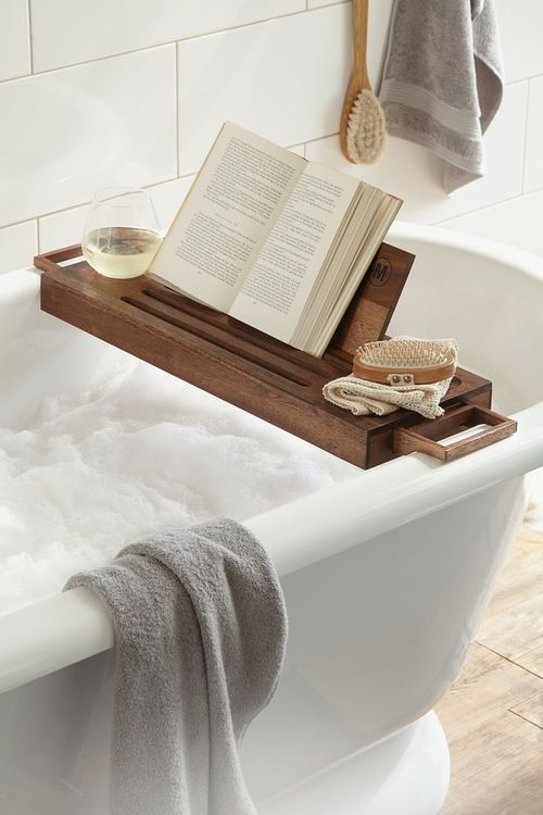a comfy bathroom shelf is great for reading and having a drnk while taking a bath