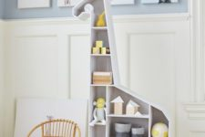 14 a giraffe shelving unit functions both as a storage piece and a toy