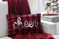 14 make a cute plaid pillow with silver sequin 'CHEER' for Christmas