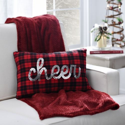 make a cute plaid pillow with silver sequin 'CHEER' for Christmas