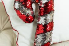 15 reverse sequin candy cane pillow in red and silver is a great idea to add a whimsy touch
