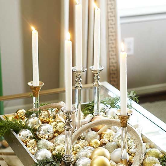 25 mixed metals christmas decor ideas digsdigs a chic christmas centerpiece of candles gold and silver ornaments is super easy to make solutioingenieria Gallery