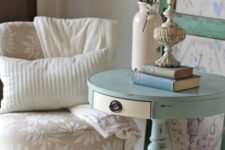 16 a light blue pedestal table with a drawer as a side table for a shabby chic space