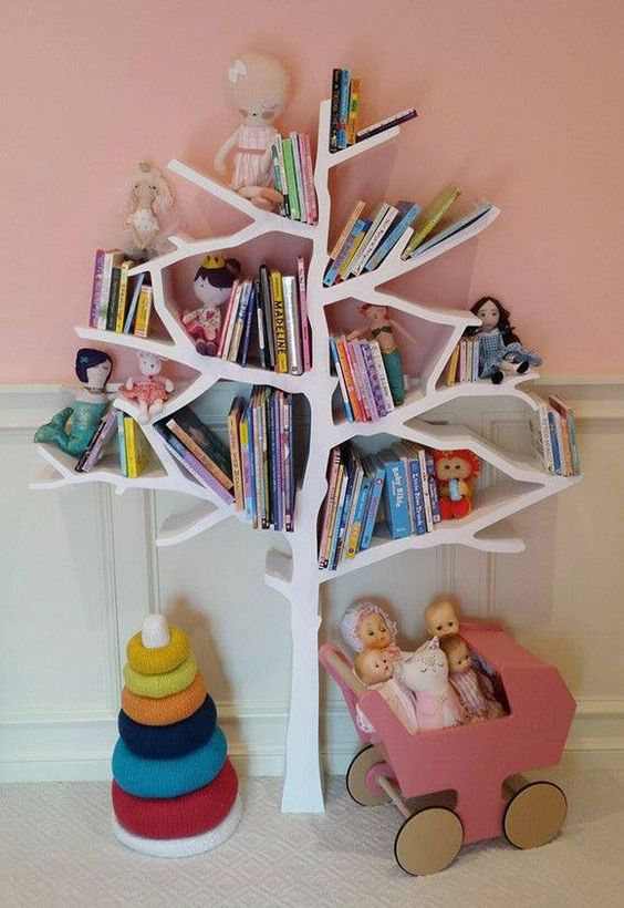 a tree-shaped bookshelf serves as a book storage piece and a toy at the same time