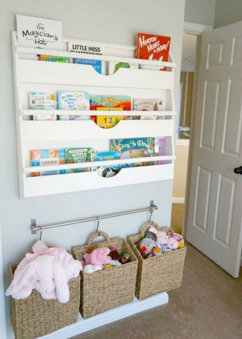 a railing to hang baskets and pockets to store toys and books