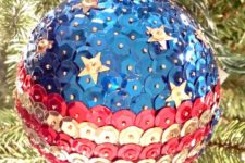 18 a patriotic Christmas sequin ornament is great for any festive decor