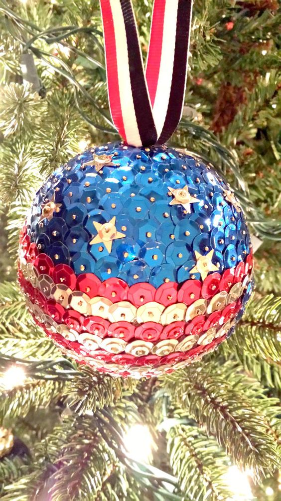 a patriotic Christmas sequin ornament is great for any festive decor