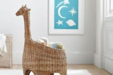 18 a wicker basket storage shaped as a giraffe to play with and to store things
