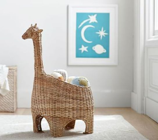 a wicker basket storage shaped as a giraffe to play with and to store things