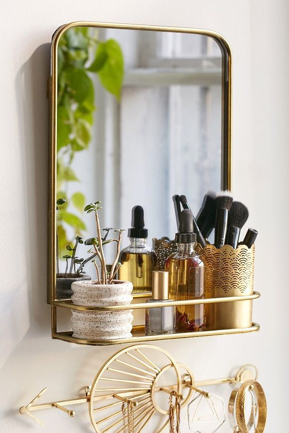 a mirror can contain additional storage, for example, your perfume or brushes