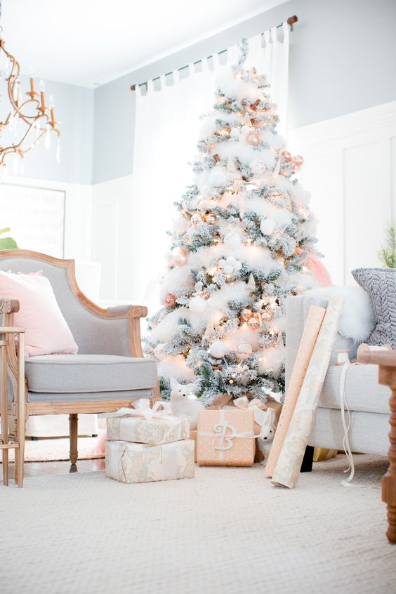 a flocked Christmas tree with copped ornaments and lights looks very chic and glam