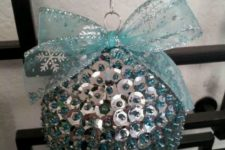 20 a silver and light blue sequin ball ornament with a large light blue ribbon bow