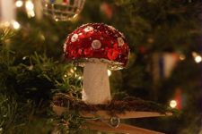 21 a unique sequin mushroom Christmas ornament will add a woodland feel to your decor