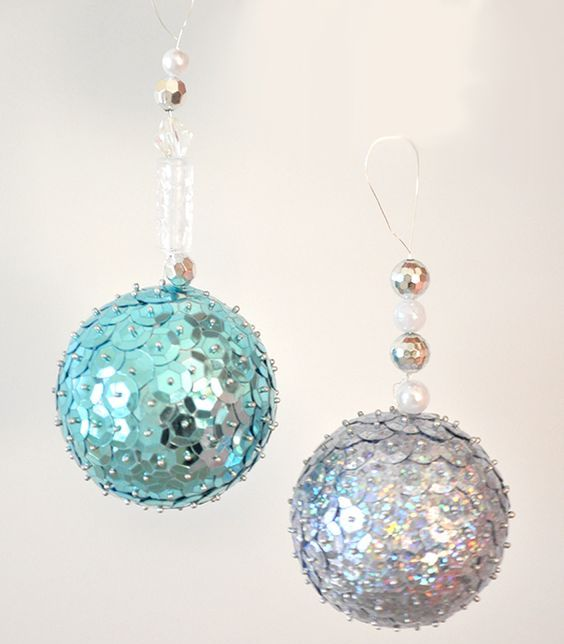 cute shiny blue and silver sequin ornaments with additional beads for Christmas