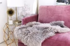 23 girlish touches are the most popular for glam style, this pink sofa is a great idea in this case