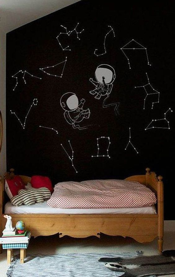 a space-themed black wall with austronauts and constellations is great for a space-themed room