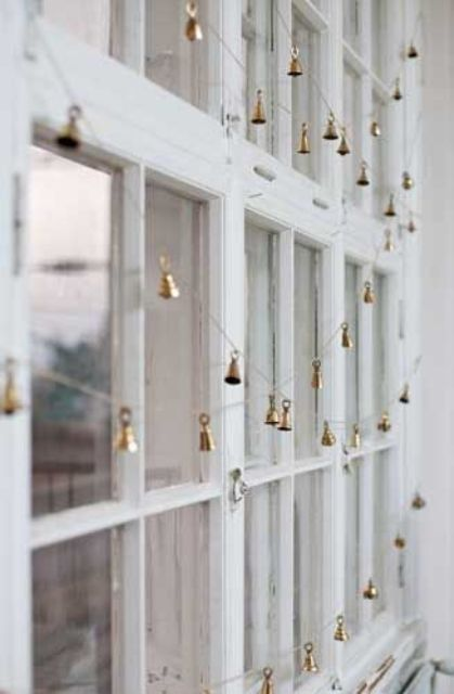little gold bell garlands will be nice for decorating your window