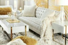 25 a luxurious glam living room done in cream and gold looks really wow