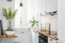 25 a tiny minialist kitchen with wooden countertops, white tiles and metal stools