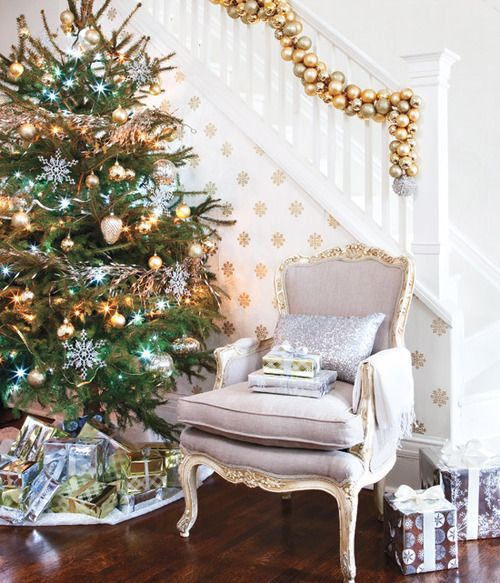 a Christmas garland of ornaments in gold, copper and silver for staircase decor