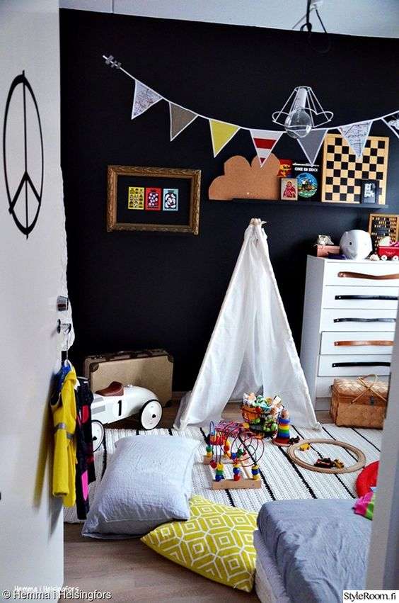 black and white space is a great idea to fill it with colorful items and furniture