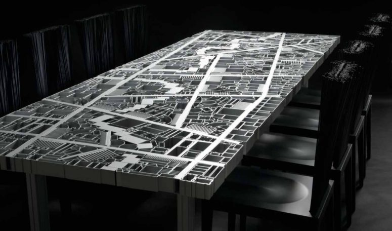Baghdad Table With The City Map Of Aluminum