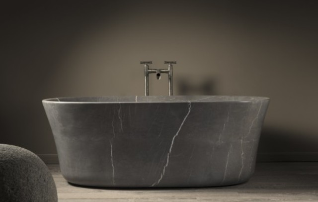 Graceful Calma Bathtub Of Monolithic Stone Blocks