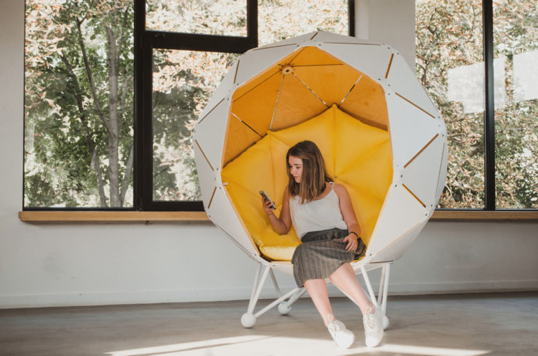 The Planet is a unique geometric pod that offers privacy to its user and provides a lot of functions