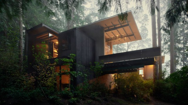 This amazing forest cabin with unique architecture was first built in 1930s, and then renoveated several times