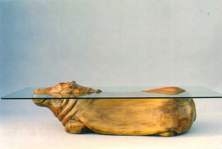 Every table is handmade, of wood, stone, concrete and other materials