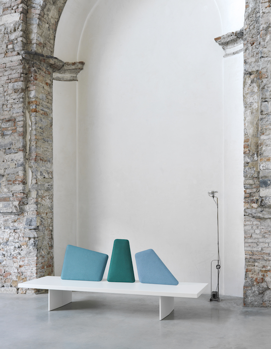 The asymmetric pillows in the back of the bench will remind you of uneven edges and angles of glaciers
