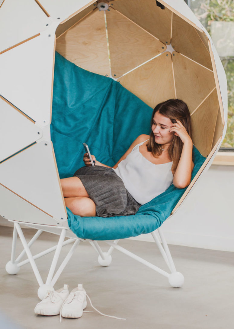 02-The-colors-and-materials-are-cutomizable-and-you-can-do-whatever-you-like-inside-775x1087 Geometric Capsule Chair For A Little Privacy