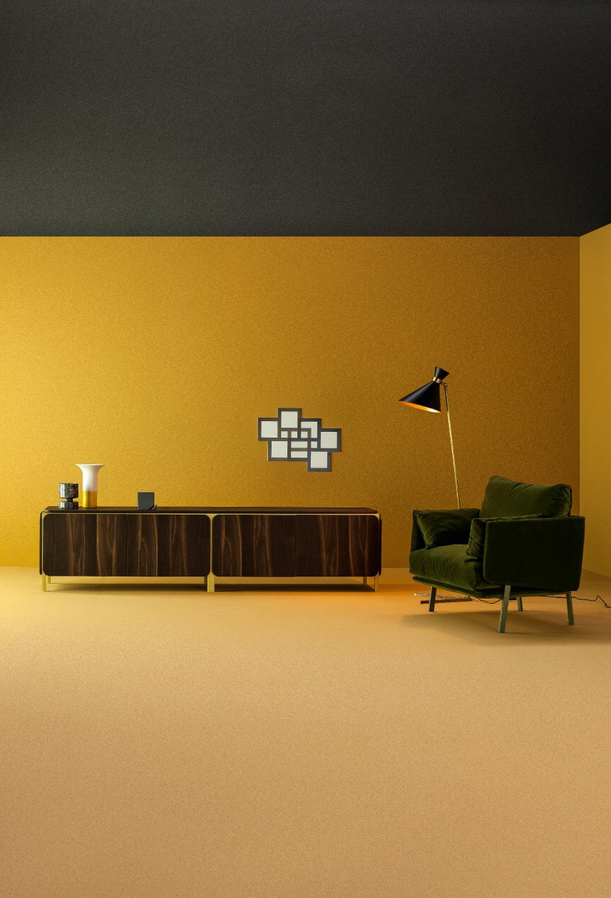 The pieces have bold looks due to the rounded corners and contrasting materials used