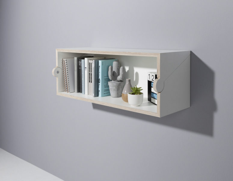 Here's how the shelf looks, it can be used as a bookshelf or a usual shelf, and the top can be used, too