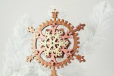 03 a colorful felt gear snowflake ornament for Christmas