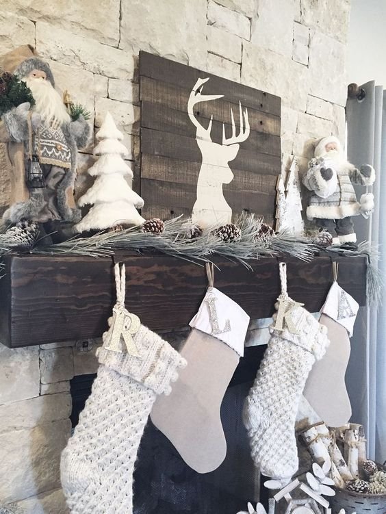 neutrals are also fine for Christmas decor, neutral stockings and snowy pine needles