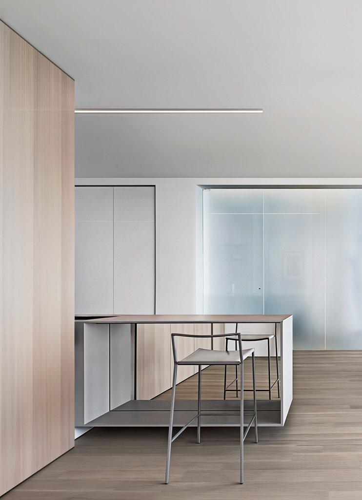 Here you can see a small counter that can be used for working or as a breakfast nook