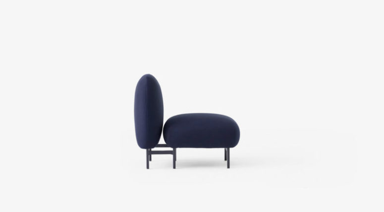 Navy Isole piece without armrests or tables