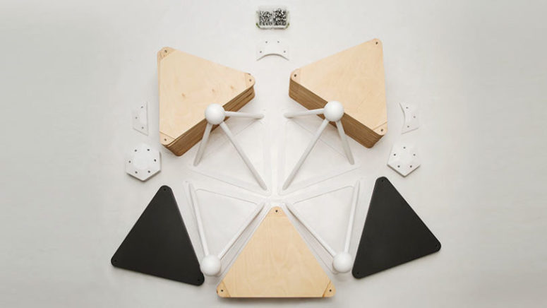 The piece is made of plywood triangles for a modern geometric look
