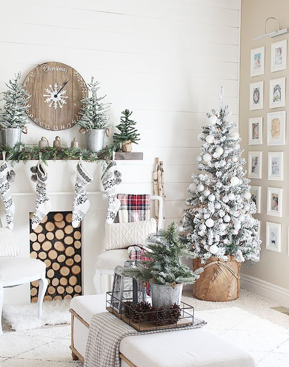 snowy trees and black and white stockings for a chic farmhouse space