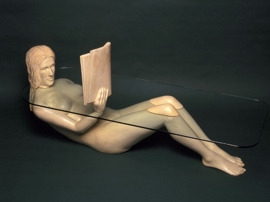 Woman in a Batht table is completely carved of wood