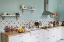 06 such a turquoise wall is right what you need for a stylish colorful accent in the kitchen
