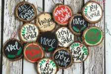 06 traditional black, red, green and white calligraphy wood slice ornaments for Christmas
